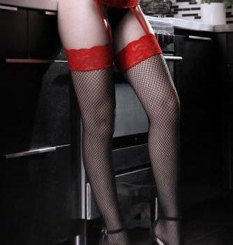 I Dare You Jarretel Panty - Rood/Zwart|