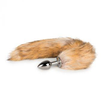 Kleine zilverkleurige buttplug met vossenstaart|