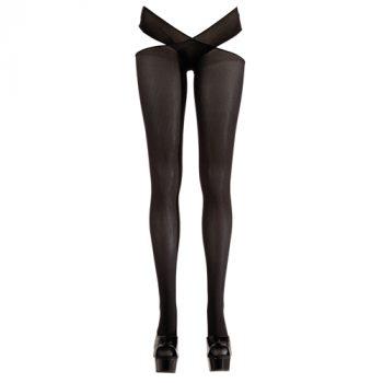 Panty met open kruis - Zwart|