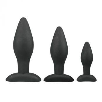 Siliconen buttplugsetje - zwart 