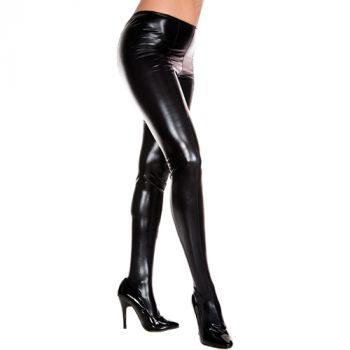 Wetlook Metallic Panty - Zwart|