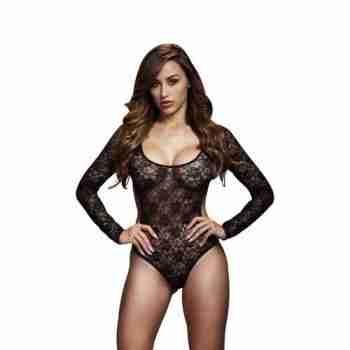Baci - Kanten Bodysuit Met Open Achterkant - Zwart 