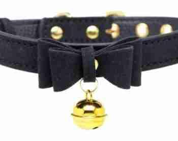 Golden Kitty Collar Met Kattenbelletje - Zwart/Goud|